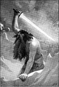 Dollman, John Charles.  'The Giant with the Flaming Sword.'  1909. Included in Guerber, H. A., Myths of the Norsemen from the Eddas and Sagas as illustration on page 2. Altered by author for size.